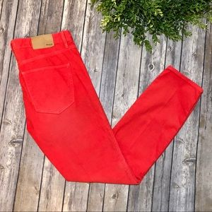 Madewell Skinny Ankle Cords Red Corduroy Pants 27